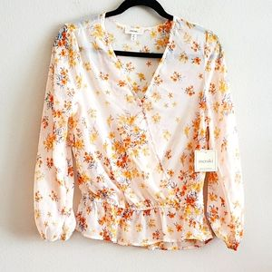 Meraki Yellow Floral Faux Wrap Peplum Top